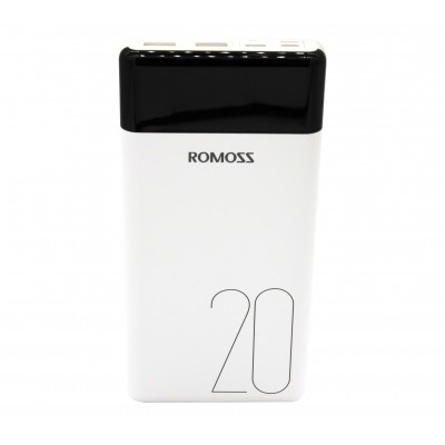 Romoss LT20 20000mAh Input: Type-C|Lightning|Micro USB|Output: 2 x USB Power Bank White