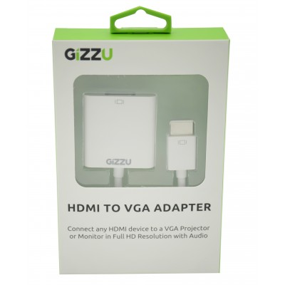 GIZZU HDMI to VGA with Audio Adapter White