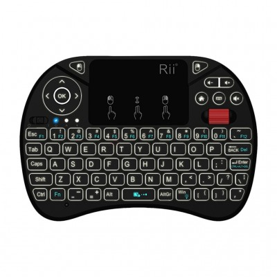Rii QWERTY RGB Backlighting Media Touchpad with Scroll Wheel Black