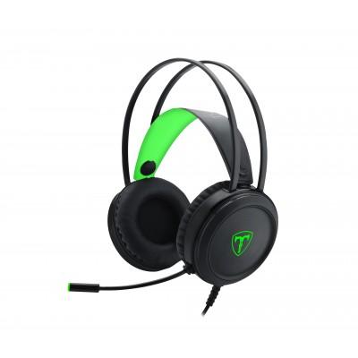 T-Dagger Ural Green Lighting|210cm Cable|3.5mm+USB|Uni-Directional Luminous Gooseneck Mic|50mm Bass Driver|Stereo Gaming Headset