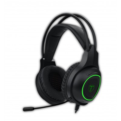 T-Dagger Atlas Green Lighting|210cm Cable|3.5mm+USB|Omni-Directional Gooseneck Mic|40mm Bass Driver|Stereo Gaming Headset - Blac