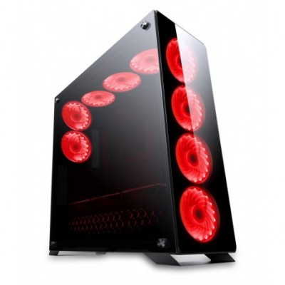 Redragon IRONHIDE 6x RGB LED Tempered Glass Side x 2/Front/Top ATV Gaming Chassis Black